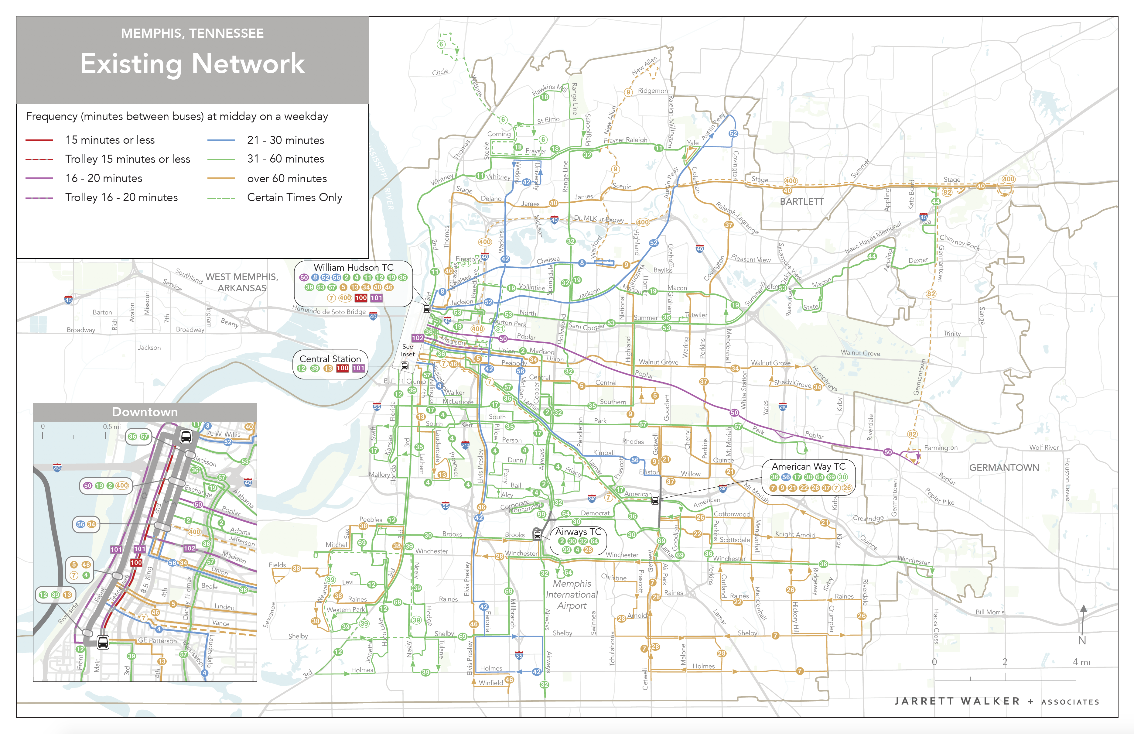 Image of existing transit map in the City of Memphis